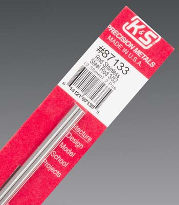 K&S Round Stainless Rod 3/32 X 12-0
